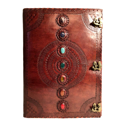 Seven Chakra Medieval Stone Embossed Handmade Leather Journal